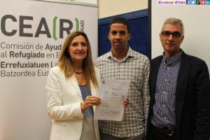 De izquierda a derecha Patricia Bárcena, Hassanna Aalia y Javier Canivell en la rueda de prensa